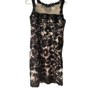 Yoana Baraschi Black and Tan Lace Sleeveless Dress